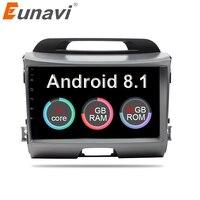 Eunavi 2 din 8'' Android 8.1 Octa core car dvd radio player for KIA sportage 2011 2012 2013 2014 2015 head unit gps stereo wifi