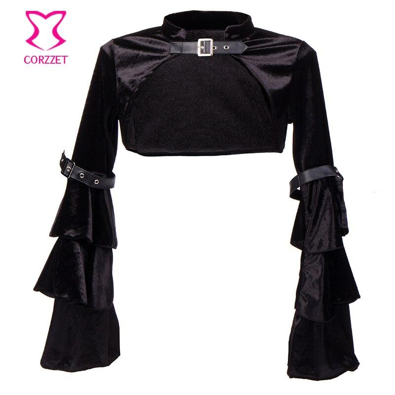 Mëngë të gjata me fanellë të zezë fanellë me xhaketë rrip - Veshje për femra - Foto 2