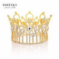 GÜMRÜKLEME SATıŞ Vintage Kraliçe Tiara Kristal Rhinestone Taç Gelinlik Başlık Kadınlar Kafa Takı Pageant Düğün Saç Aksesuarları