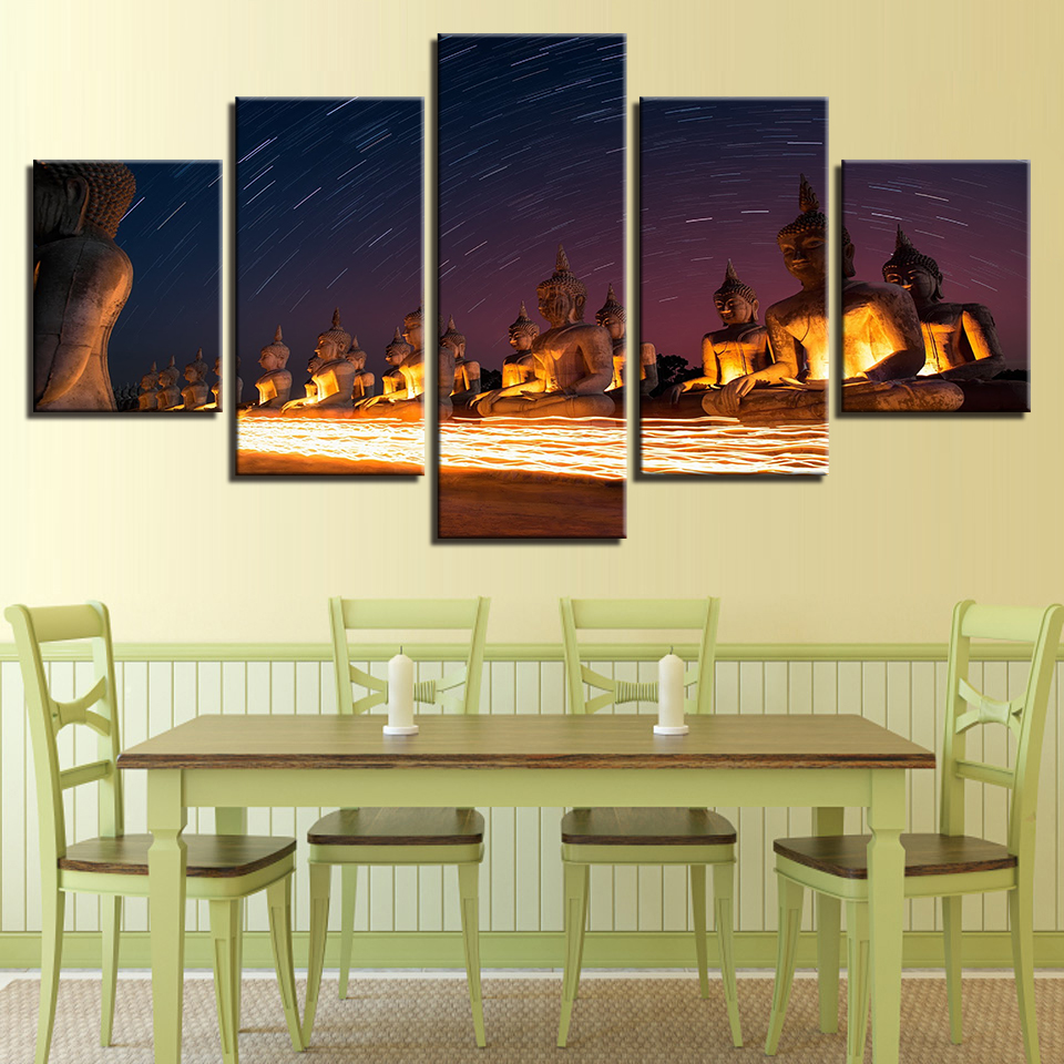 Decoration Posters Picture On Canvas Wall Art 5 Panel Buddhism Modular Home Framework Living Room HD Printed Modern Painting