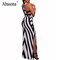 Abasona Elegant Striped Dress Black White Splice Sexy Party Dresses Round Neck Sleeveless Summer Maxi Dress