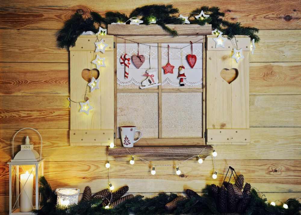 Dephoto Fotografi Latar Belakang Jendela Kayu Dekorasi Natal Cabang Pinus Latar Belakang Foto Studio Desain Kamera Kertas Foto