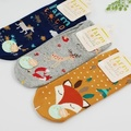 free shipping Super Meng small animal park in spring and summer boat socks cute cartoon fox sheep elk female cotton socks Sock S