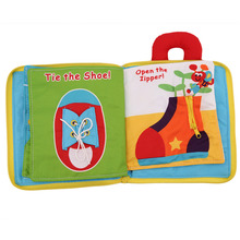 12 pages Soft Cloth Baby Boys Girls Books Rustle Sound