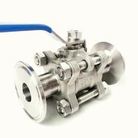 DN40 x 1.5 Tri Clamp 3 Piece Ball Shut Off Valve SUS 304 Stainless Steel Industrial