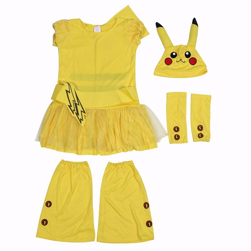 Little Girls Pikachu Pokemon Go Kostym Wagging Tail Halloween Kids - Maskeradkläder och utklädnad - Foto 3