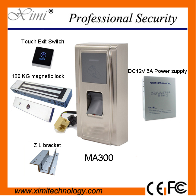 Good quality ID card access control+ power supply+lock+exit button+bracket MA300 Fingerprint time recorder