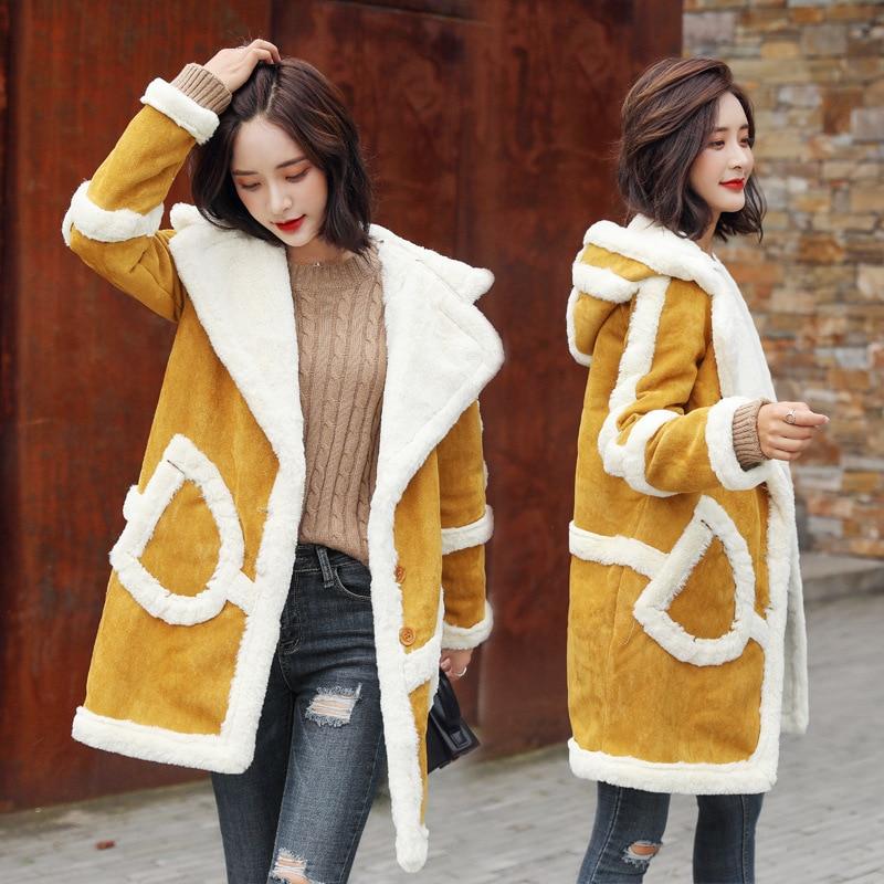 Et Laine À jaune Vestes Manteaux Outwear Femmes Femme Chaud Veste De Cachemire 2018 Manteau Parka Lâche Long D'hiver Mélanges Rose Épais Capuche bY6gIyvf7
