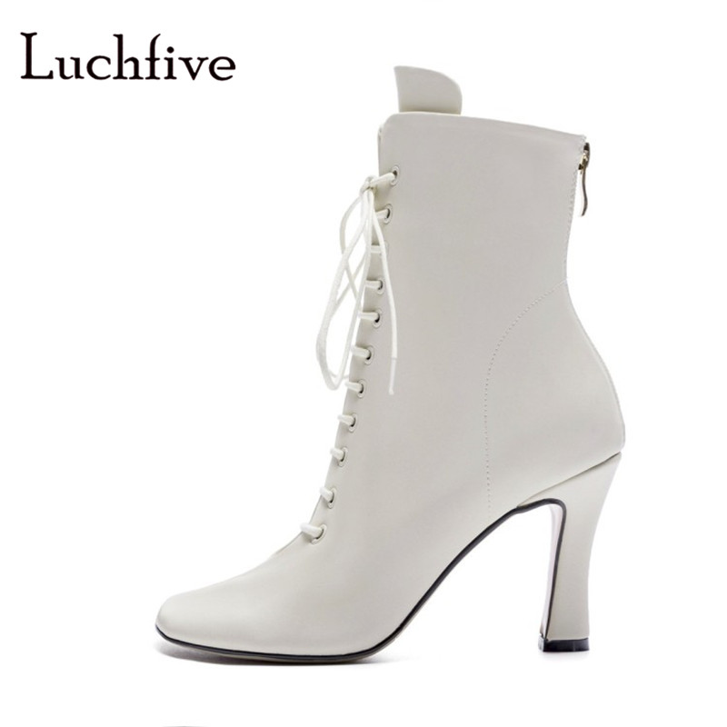 New Fashion round toe women booties classic lace up ladies shoes back zipper ankle boots women high heels black beige white 2018 lace up zipper back transparent heels