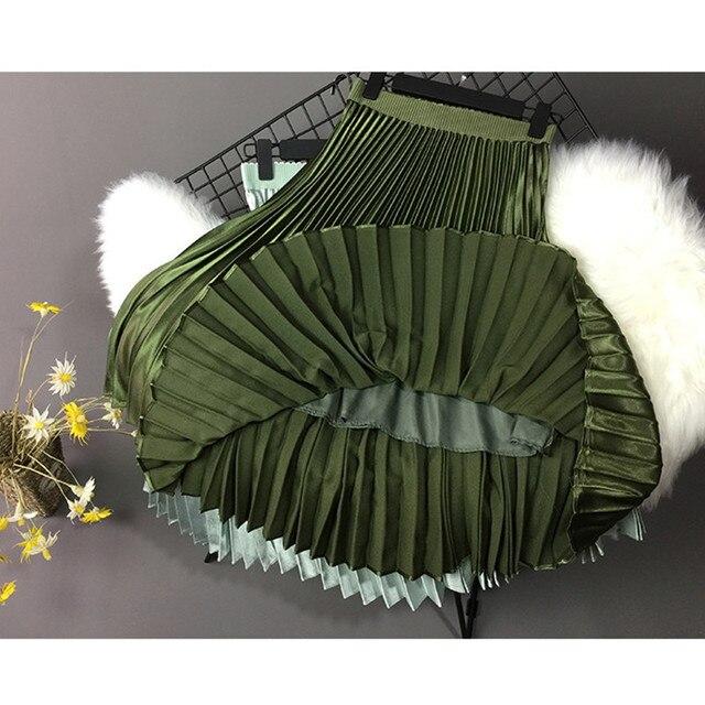 2019 Women Skirt Casual Autumn Winter Metallic Satin Pleated Skirt Female Vintage Mid Calf Black White Skirt Streetwear L 3