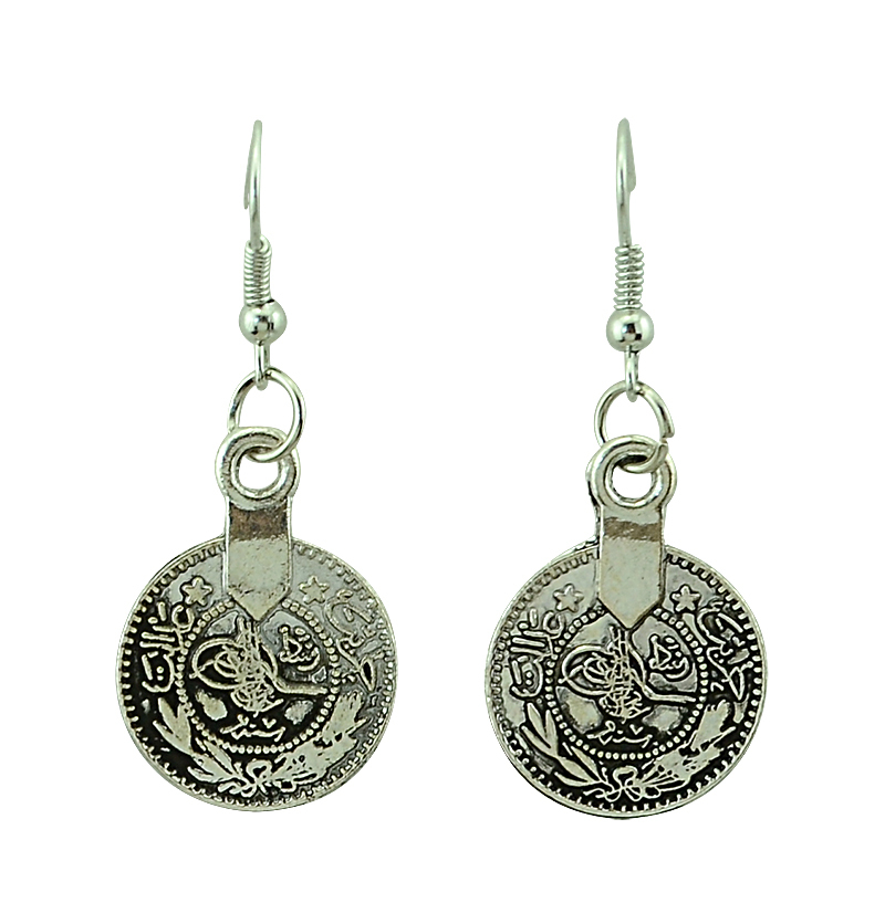 Bohemian Gypsy Love Affair Antalya Silver Coin Statement Fringe Turkish Bohemian Boho India Festival Necklace Earring Set
