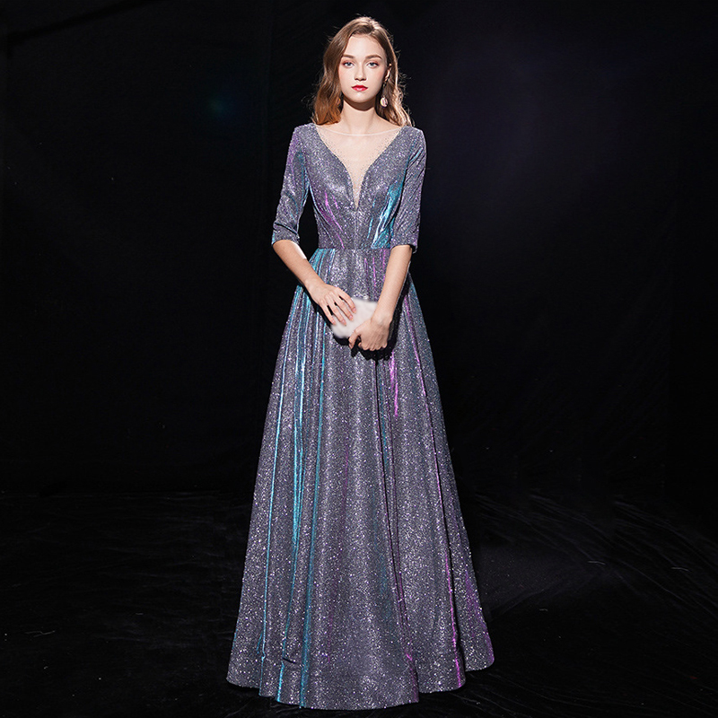 Half Sleeves Evening Dress 2019 New Vintage Lace up Mother of the Bride Dresses Long Dress