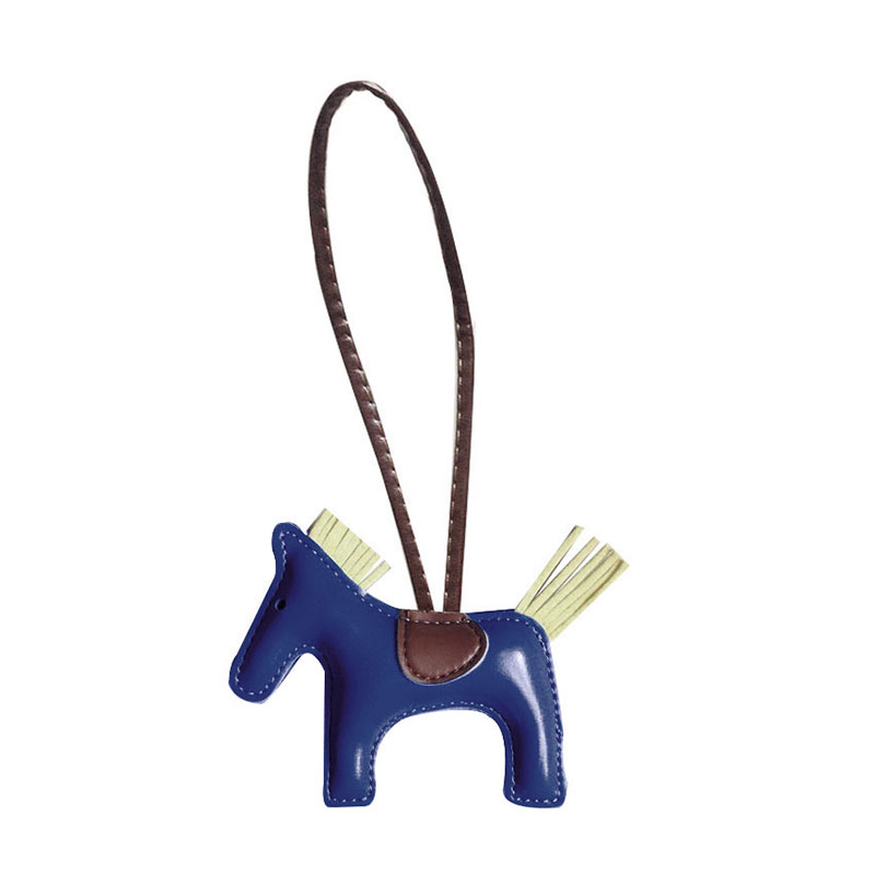 QCOOLJLY Famous Luxury Handmade PU Leather Horse Keychain Animal Key Chain Women Bag Charm Pendant Accessories
