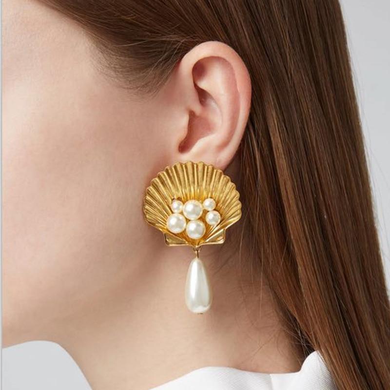 alloy shell imitation pearl earrings upscale temperament earrings Bohemian fashion jewelry in Drop Earrings from Jewelry Accessories