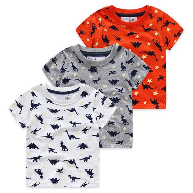 3-7ages Mundo Jurásico dinosaurio niños camiseta de los muchachos del verano del bebé infantil chicos tops tee camisetas para niños ropa de los muchachos prendas de vestir