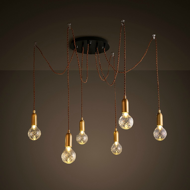 Nordic American Loft Style Industrial Lamp Vintage LED Pendant Light with 6 Lights Fixtures Hanging Lamp Suspension Luminaire american loft industrial wind retro heavy metal car chain pendant lights personality luminaire vintage bulb lamp hanging light