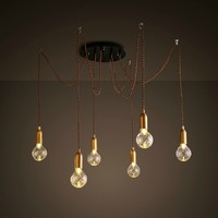 Nordic American Loft Style Industrial Lamp Vintage LED Pendant Light with 6 Lights Fixtures Hanging Lamp Suspension Luminaire