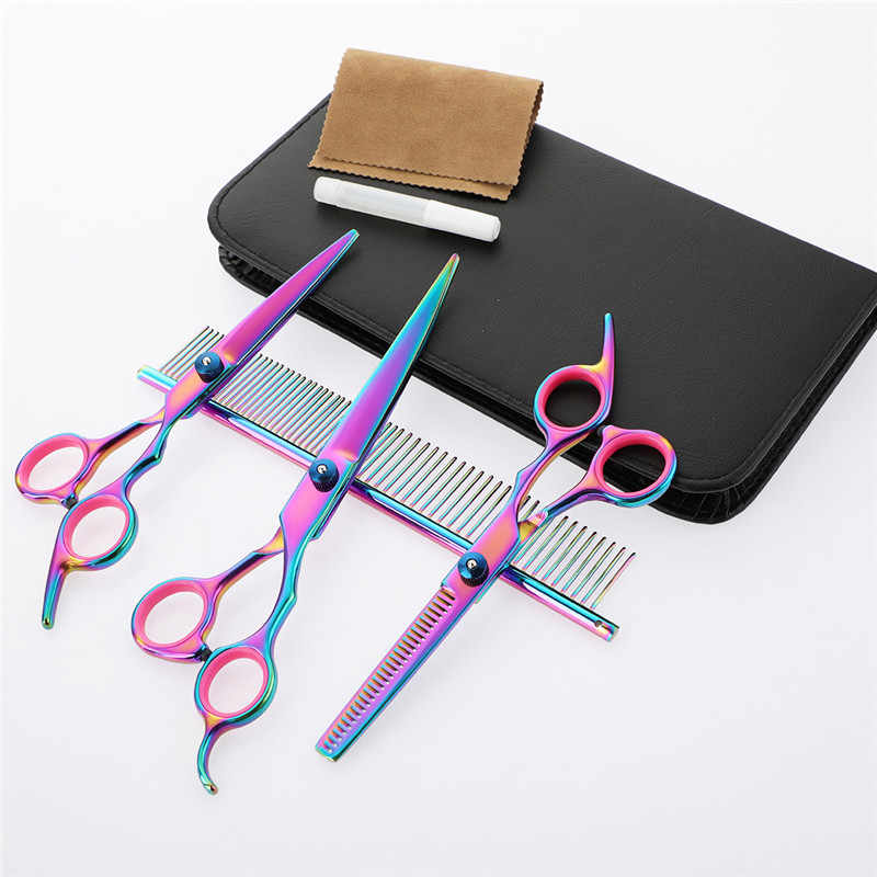 Stainless Steel Scissors Hair Professional Barber Salon Hairdressing Shears Cutting Styling Tool 6 Inch Rainbow Pets Scissors