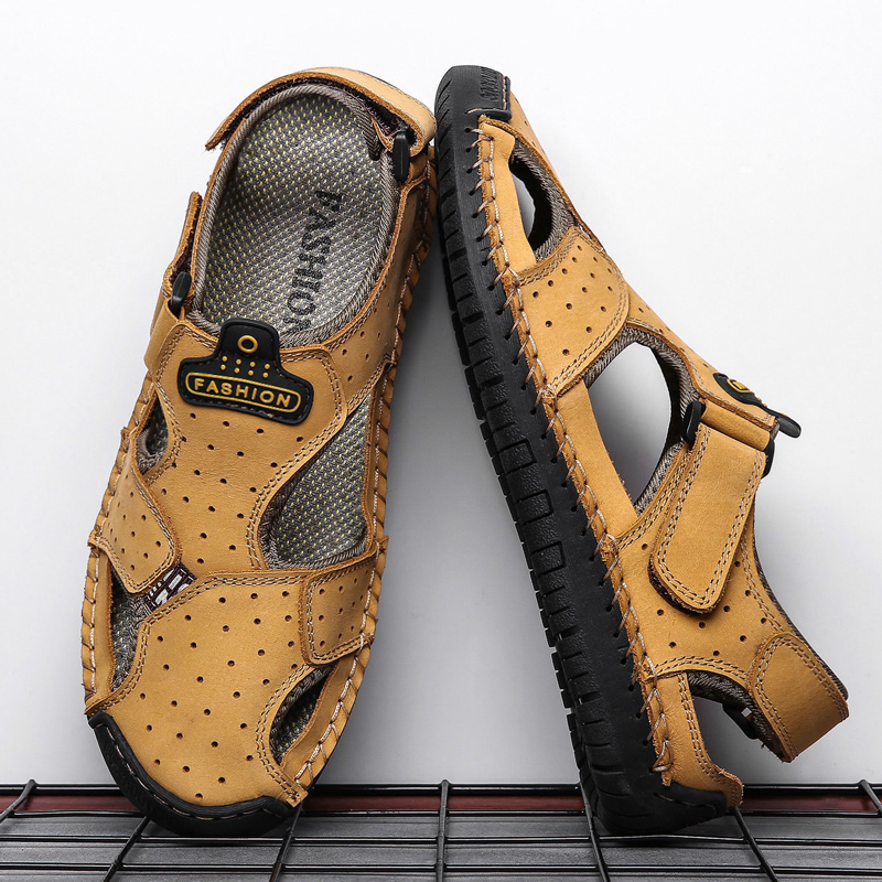 2019 New Casual Men Sandals Comfortable Men Summer Genuine Leather Sandals Men Roman Summer Outdoor Beach Sandals Big Size 38-48(China)