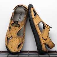 2019 New Casual Men Sandals Comfortable Men Summer Genuine Leather Sandals Men Roman Summer Outdoor Beach Sandals Big Size 38 48