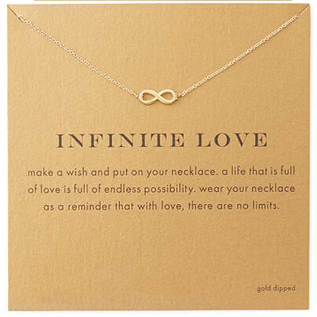 c02c54a838f052 Trendy Gold Color Infinite Love Necklace For Women Minimalist Pendant Chain  Friendship Choker Necklace Gift Card