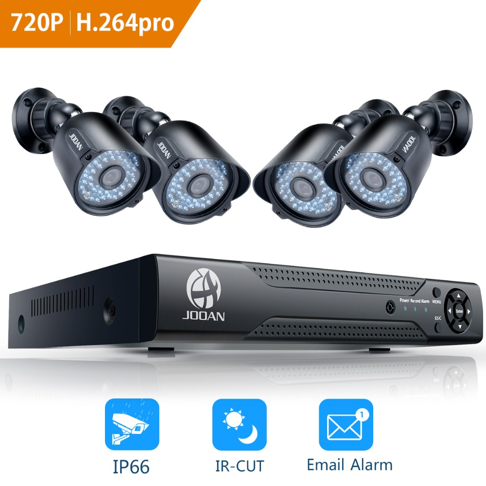 JOOAN 8CH DVR CCTV Video Recorder 4PCS 720P Home Security Waterproof Night Vision security Camera