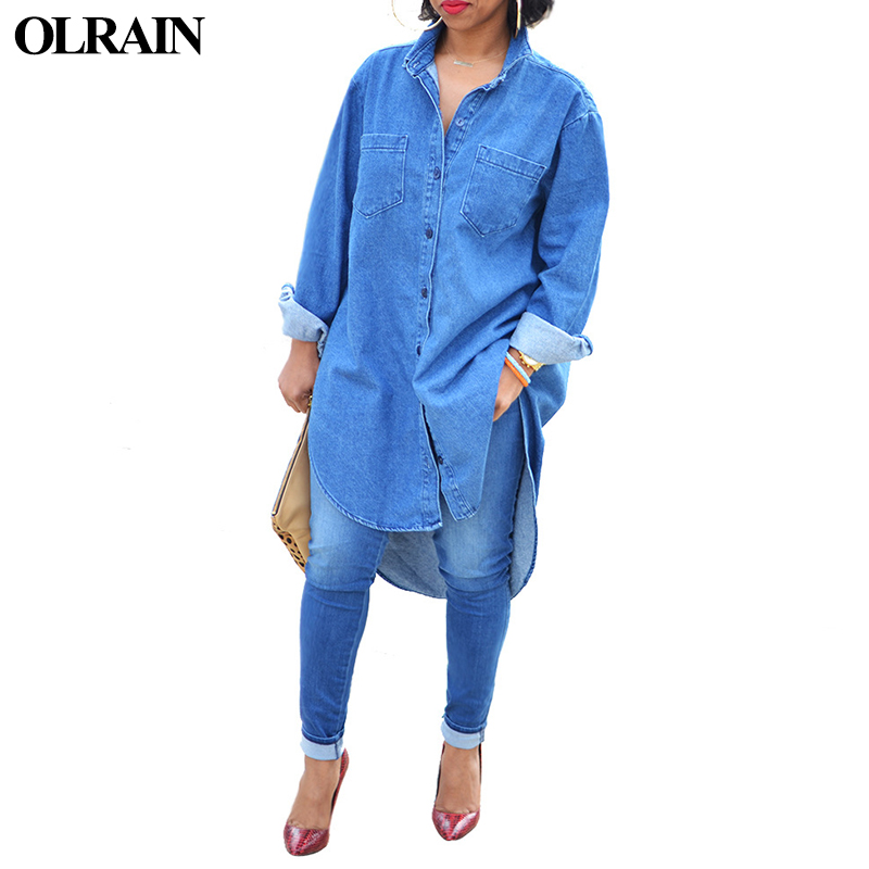 Olrain Women Vintage Button Long Sleeve Denim Shirt Dress ...