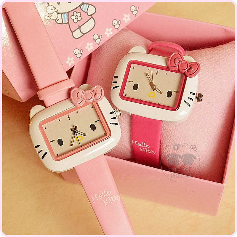 2019 Korean version of the cute KT cat fashion women's watch Hello Kitty cartoon children's watch jelly color girls watch