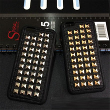 Dower Me Fashion 3D Cool Metal Rock Punk Spikes Stud Rivet Soft PU Leather Phone Case Cover For Iphone XS Max XR X 8 7 6 6S Plus