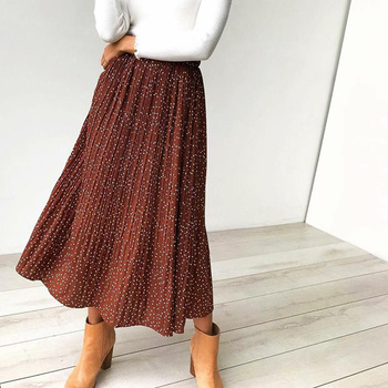 White Dots Floral Print Pleated Midi Skirt Women Elastic High Waist Side Pockets Skirts Summer 2019 Elegant Female Bottom 1