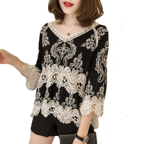 378547919ca19 US $10.97 49% OFF|Clobee Women Lace Tops Summer National Style Hollow out  Sleeve Loose Sweet V Neck Mori Girls shirt Embroidered blouse School-in ...