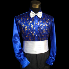Glossy shiny new white violet yellow sequins Evening efficiency traits of males's shirts out