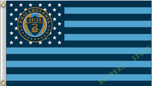 3X5FT Philadelphia Union with strips Flag MLS banner  100D digital printing free shipping