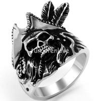 Biker Men's Stainless Steel One Piece Feathered Pirate Captain Ring Engagement Wedding Band, Black Silver Color Size 7-13