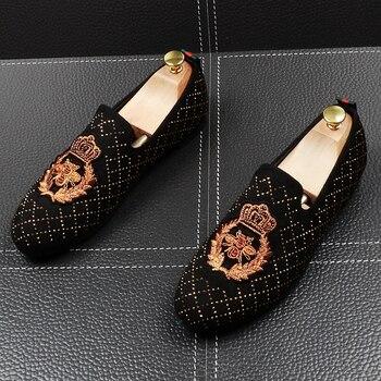 Scarpe Morbide | Inghilterra Stile Mens Casual Morbida E Confortevole Scarpe In Pelle Di Mucca Del Ricamo Di Strass Promenade Del Partito Di Usura Scivolare Su Scarpe Zapatos Mocassini