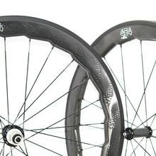 7fecaa30e 454 tubeless 58mm depth carbon road bike wheelsets 700c dimple surface  carbon wheels bike clincher wheel