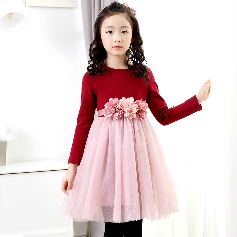 Free Shipping 3-13Y New Autumn Girls dress Girl Lace Kids flower dress long sleeve party princess dresses Purple Red Pink girls summer dress 2017 fashion long sleeved lace dress girl princess dress free shipping
