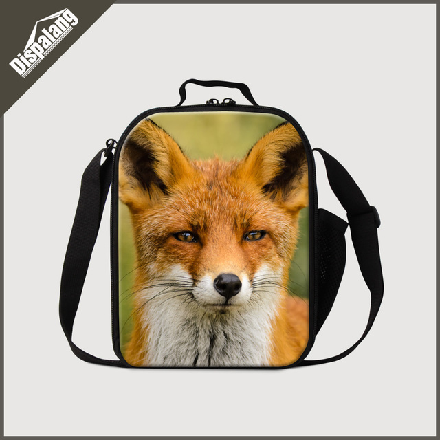 Dispalang impressão 3d lobo raposa sacos crianças saco térmico almoço térmica animal fresco lancheira saco do alimento do piquenique isolado dos homens atacado