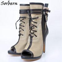 Sorbern Khaki Canvas Women Boot Peep Toe Size 31 43 Lady Hot Sale Ankle Boots For Women Botines Women's News 2018 Shoe High Heel