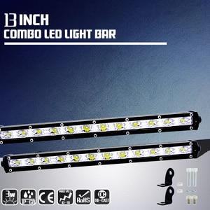 Image 5 - 13 Inch 36W Roof Light Bar Combo Flood Spot Beam Work Front Lights 6000K Cob Led Work Light Bar 12v Car Decoration Light