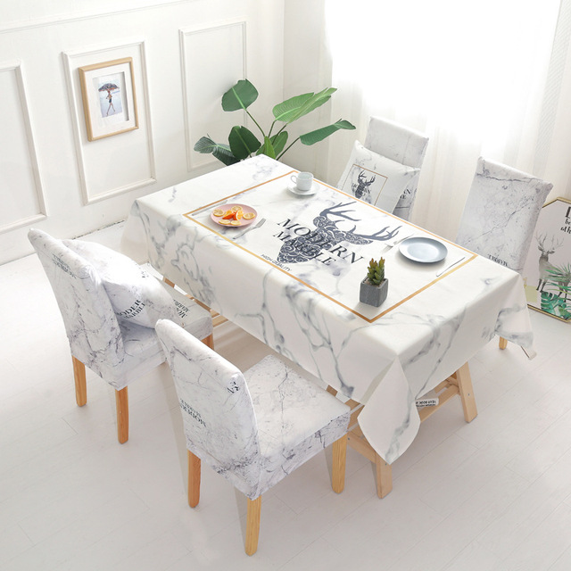 Christmas Deer Waterproof Tablecloth Wholesale Table Cloth Wedding Party Home Hotel Decoration Table Chair Covers Set