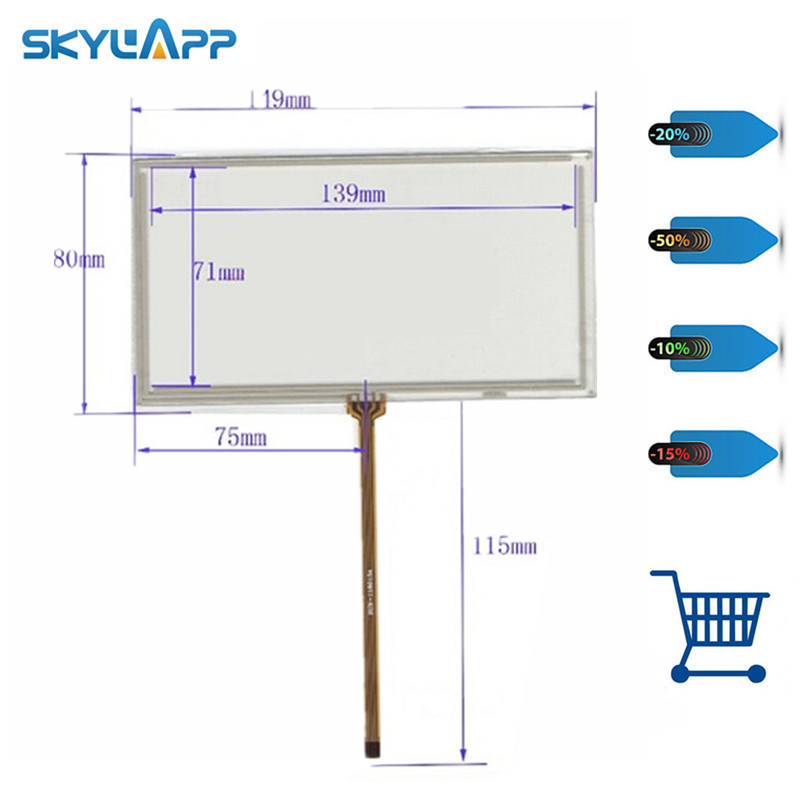 Skylarpu New 6 inch 149*80mm 4 wire Resistive Touch Screen Panels for 149mm*80mm GPS digitizer panel Repair Free shipping цена