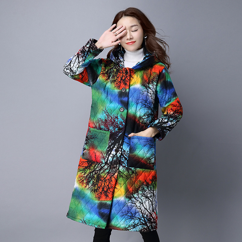 New 2018 Winter women long sleeve warm Hooded Jacket Coat,3D print women long   parkas  ,Autumn outwear jacket plus size Coat M-4XL
