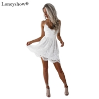 Elegant Whole Lace Embroidery Women Summer Black White Dress Sexy Strap Spaghetti Criss Cross Backless Female