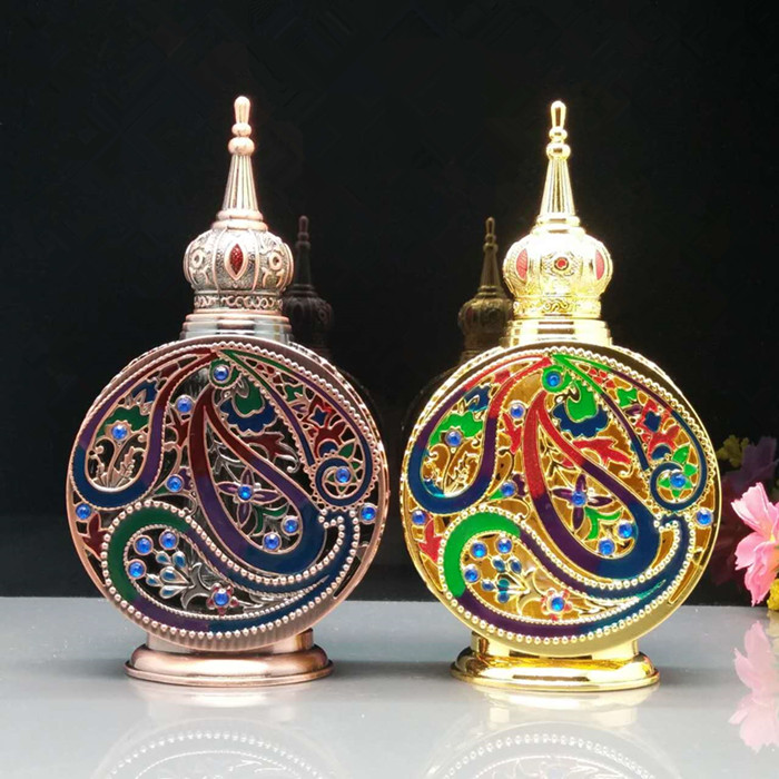SAMBETTE 12ml Antiqued Metal Perfume Bottle Arab Style Essential Oils Container Royal Perfume Glass Dropper Bottle Decoration promoting social change in the arab gulf