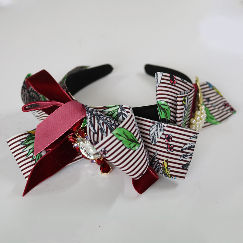 European Fashion Sun flower Baroque Hairband Striped webbing Bow Crown Autumn Winter Headband Wedding Hair Accessories Jewelry