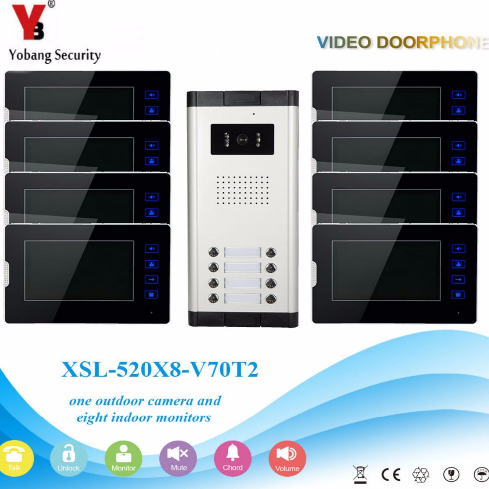 YobangSecurity 8 Units Apartment Video Intercom 7 Inch Monitor Wired Video Doorbell Door Phone Speakphone Intercom System Kit apartment intercom system 7 inch monitor 6 units apartment video door phone intercom system video intercom doorbell kit