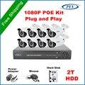 Plv recorde de vídeo em rede nvr poe 8ch hdmi 1080 p full hd casa Sistema de Câmera De Segurança POE Plug and Play com 2 TB pré-instalado HDD