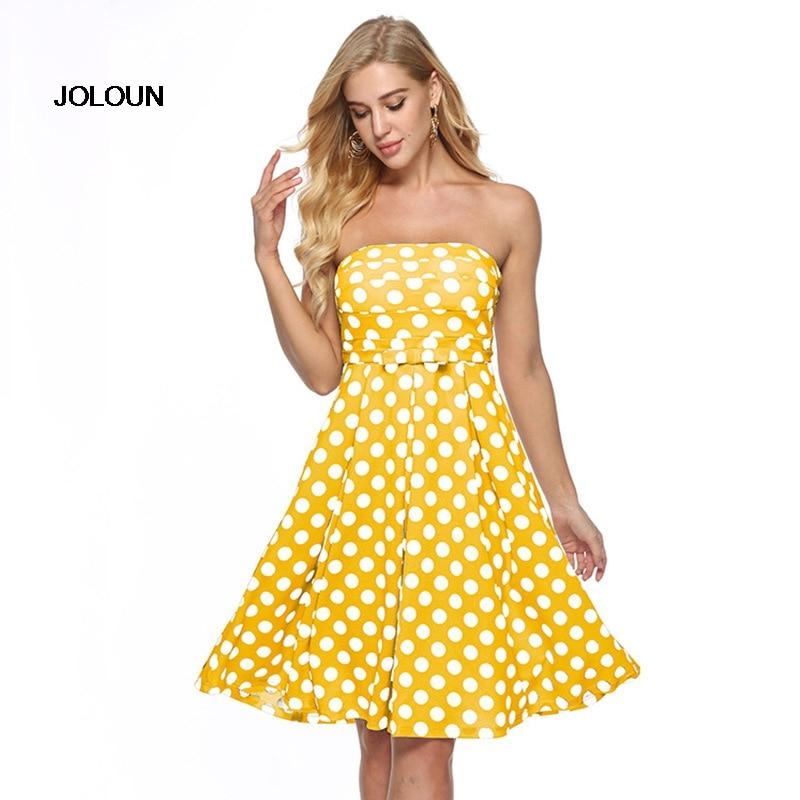 Sexy Sleeveless Ladies Casual Party Wrap Dresses Strapless Polka Dot Yellow Dress Formal Women Elegant Short Mini Girls Dress polka dot