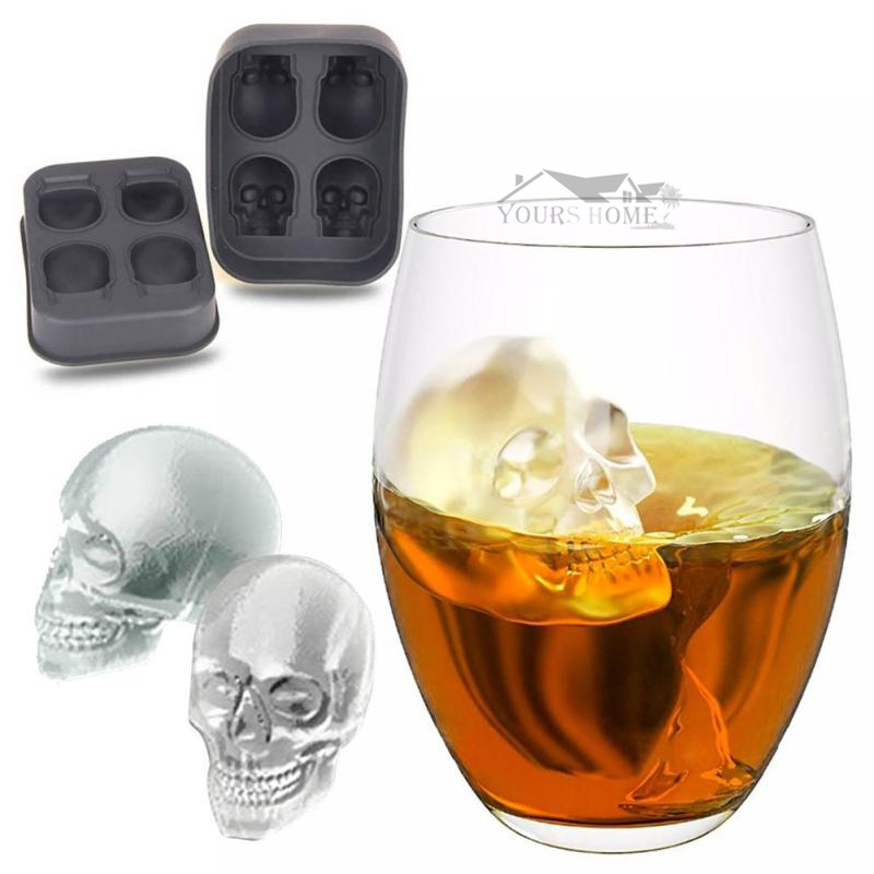 Hot Sale Halloween Flexible 3D Skull Silicone Ice Cube Mold Tray Makes Four Giant Skull Round Ice Cube Maker Black Ice Tray